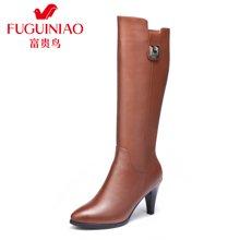 富贵鸟头层牛皮尖头高跟女士长筒靴加绒保暖女靴橡胶的女鞋 G69D661CPC