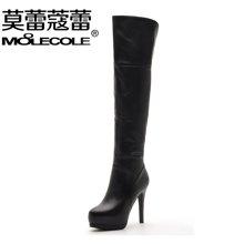 莫蕾蔻蕾过膝长靴冬季加绒瘦腿弹力靴保暖真皮马丁靴细跟高跟女靴子 A930