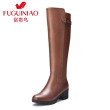 富贵鸟女靴女秋冬长筒靴高筒靴子女士皮靴骑士靴长靴 G69M015CPC