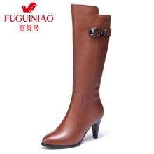 富贵鸟长靴女鞋高筒靴加绒保暖棉靴欧美高跟骑士靴 G69D659CPC