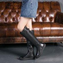 玛菲玛图冬季新款女靴子复古高跟长靴欧美英伦骑士靴厚底高筒靴女009-30