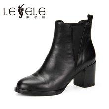 LESELE/莱思丽新款冬季牛皮女鞋 圆头粗跟短靴高跟绑带女靴KE61-LD1092