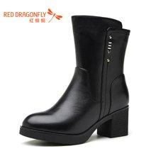 红蜻蜓2016冬季新款高跟休闲加绒保暖粗跟中靴女中筒靴6530