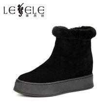 LESELE/莱思丽新款冬季牛猄女鞋 圆头厚底高靴绑带羊毛饰雪地靴MA61-LD0841