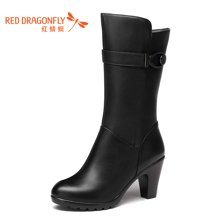 红蜻蜓女鞋 2016秋冬新款高跟防水台中筒靴粗跟棉靴女靴子6565