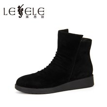 LESELE/莱思丽新款冬季羊猄女鞋 圆头厚底休闲靴拉链短靴女KE61-LD0821