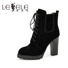 LESELE/莱思丽冬季新款羊猄短靴 圆头防水台侧拉链系带女靴KE61-LD1069