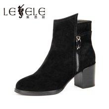 LESELE/莱思丽新款冬季羊猄女靴 圆头拉链粗跟短靴高跟靴子KE61-LD1149