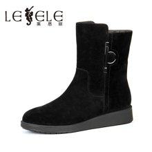 LESELE/莱思丽新款冬季羊猄女鞋 圆头金属扣饰靴加绒短靴女KE61-LD0823