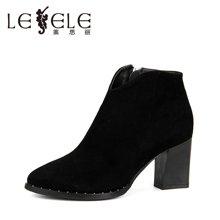LESELE/莱思丽新款冬季拉链羊猄女靴 尖头粗跟短靴高跟优雅靴子SZJ61-LD6009