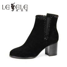 LESELE/莱思丽新款冬季羊猄女鞋 圆头粗高跟职业靴加绒短靴女KE61-LD1573