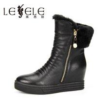 LESELE/莱思丽新款冬季牛皮女靴 圆头低跟加绒保暖平底短靴HAE61-LD0255