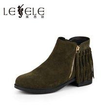 LESELE/莱思丽新款冬季牛绒女鞋 圆头低跟时装靴粗跟加绒靴EH61-LD0234