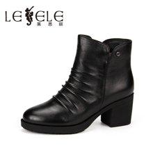LESELE/莱思丽新款冬季牛皮女鞋 粗跟职业高跟拉链加绒短靴KE61-LD0153