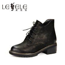 LESELE/莱思丽新款冬季牛皮女靴 圆头粗跟中跟绑带加绒短靴HAE61-LD0500
