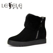 LESELE/莱思丽新款冬季牛猄女鞋 圆头加绒靴厚底休闲短靴MA61-LD0837