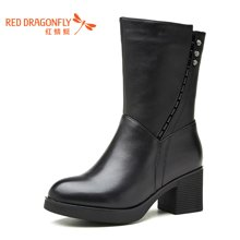 红蜻蜓女靴子秋冬2016季新款高跟小尖头百搭休闲中筒靴 6531