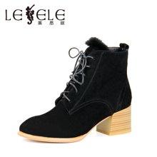 LESELE/莱思丽新款冬季羊猄女鞋  圆头舒适粗跟靴绑带加绒短靴HAE61-LD8601