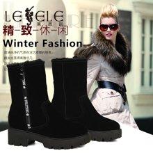 LESELE/莱思丽新款冬季牛猄女鞋 兔毛厚底靴加绒休闲短靴MA61-LD0863