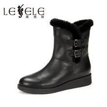 LESELE/莱思丽新款冬季牛皮兔毛女鞋 厚底休闲靴加绒中靴女KE61-LD0827