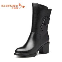 红蜻蜓女鞋2016冬季新款中筒靴女粗跟高跟加绒女靴子6243