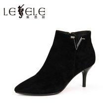 LESELE/莱思丽新款冬季羊猄优雅女靴 尖头细跟短靴拉链高跟KE61-LD1058