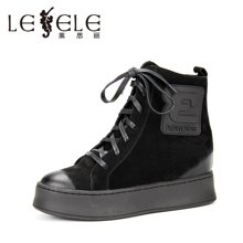 LESELE/莱思丽新款冬季牛猄女靴 圆头系带厚底高短靴高跟时装靴MA61-LD0842