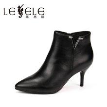 LESELE/莱思丽新款冬季牛皮优雅女靴 尖头细跟短靴拉链高跟KE61-LD1057