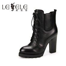 LESELE/莱思丽冬季新款牛皮短靴 圆头防水台侧拉链系带女靴KE61-LD1068