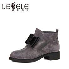 LESELE/莱思丽新款冬季拉链羊猄女鞋 圆头粗高跟职业靴加绒短靴KE61-LD0196