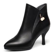 盾狐高跟靴女细跟2016新款单鞋防水台尖头短筒靴 602
