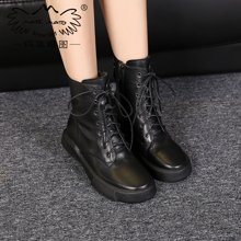 玛菲玛图欧美秋冬季帅气中筒靴系带马丁靴女骑士女靴子机车靴大码女靴009-18
