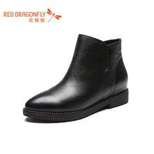 红蜻蜓女靴子2016新款秋冬季百搭拉链内增高女士休闲短靴6002