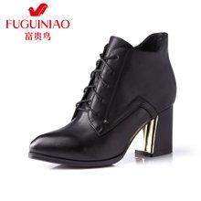 富贵鸟(FUGUINIAO)时尚女鞋头层牛皮尖头系带粗跟女短靴 金属装饰简约系带女靴 G69Y865C