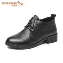 红蜻蜓2016秋季新款休闲时尚深口单鞋女圆头系带纯色中跟女鞋6622