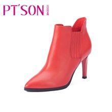 百田森2016新款冬季尖头高跟细跟裸靴踝靴短筒欧美短靴女靴子PYQ13867