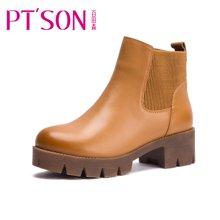 百田森2016新款冬季切尔西靴粗跟中跟防水台牛皮短靴女靴子PHS13925