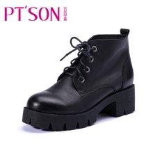 百田森 PHF13809 冬季防水台马丁靴方跟系带短筒短靴牛皮时尚女靴子