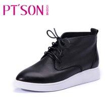 百田森 PHF13805 秋冬季平底平跟牛皮短靴百搭小白鞋高帮鞋女短靴鞋