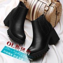 古奇天伦 秋冬新款短靴女粗跟裸靴单靴圆头高跟防水台女靴休闲马丁靴女 TL/8464