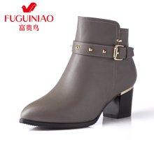 富贵鸟(FUGUINIAO)短靴女尖头粗跟靴子女靴英伦单靴马丁靴 G69S906C
