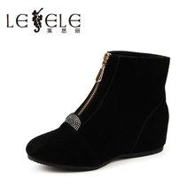 LESELE/莱思丽新款冬季优雅中跟女鞋 尖头拉链水钻坡跟短靴EZ61-LD1203