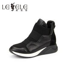 LESELE/莱思丽新款冬季牛皮女靴子 圆头坡跟内增高休闲靴短靴女AW61-LD0335