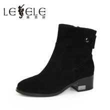 LESELE/莱思丽新款冬季羊猄女靴子 圆头中粗跟短靴时装靴女KE61-LD9511