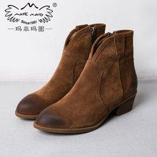 玛菲玛图复古文艺女士靴短靴磨砂牛猄皮英伦马丁靴尖头潮靴粗跟短筒靴008-1