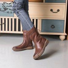 玛菲玛图秋冬季新欧美复古女靴子平底靴中筒靴系带马丁靴女机车靴大码短靴009-15D