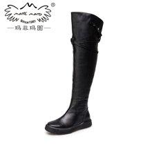 玛菲玛图秋冬新款过膝长靴女靴子低跟平底牛皮马丁靴骑士靴大码长筒靴009-13
