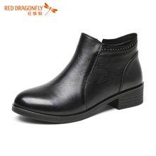 红蜻蜓深口女鞋 2016秋季新款中跟方跟时尚休闲单靴裸靴 6624