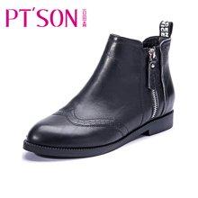 百田森 PSW13910 冬季切尔西靴侧拉链圆头短筒靴牛皮短靴女靴子