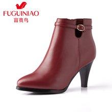 富贵鸟(FUGUINIAO)女靴子高跟短靴女尖头单靴马丁靴短筒靴 G69D625C